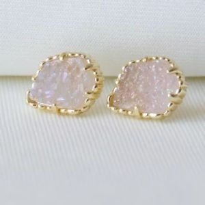 Tessa Gold Stud Earrings In Iridescent Drusy NWT
